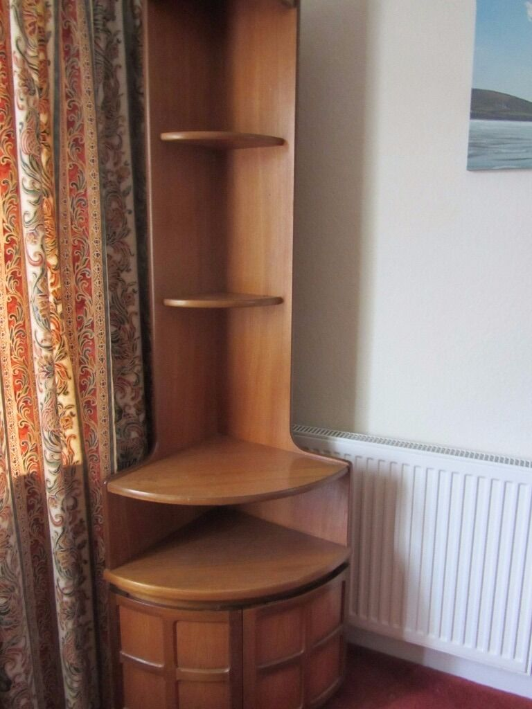 Retro 1970s 80s nathan teak tall corner display unit with for Retro 80s furniture