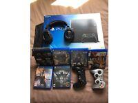 PS4, 3 Controllers, 6 Games, Bluetooth turtle beach headset and PS4 stand