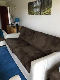 Three piece suite with sofa bed