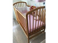 "Beautiful High Quality Drop Side Cot Includes""Mamas & Papas""Pink Bedding & Extras...."