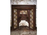 Large tiled cast iron victorian fireplace