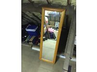 Mirror in wooden frame - 140x46cm - standing or wall mounted