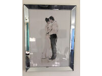 """Next - Chrome-effect Metal & Glass Framed Picture - """"Dancing Couple"""""""
