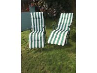 Conservatory or garden reclining chairs green White stripes