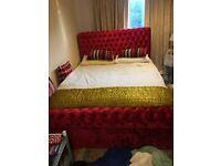 Nice red velvet chesterfield bed frame for sale