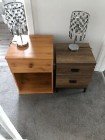 Bedside lockers and lamps