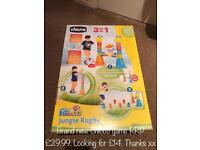 All new, or like new. Chicco Rugby, little Tikes car transportor, Leapfrog +