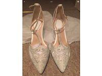 Size 6 cream diamanté wedding shoes