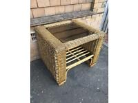 Wicker Table with Dark Glass Top