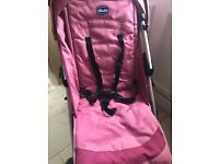 Chico pink buggy with cosytoes and rain cover