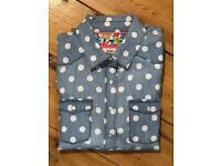 9-10Y girls Mini Boden spotty Jeans shirt
