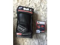 Title Boxing Gloves (black) Size S/M & Lonsdale Wraps 180in Red/White