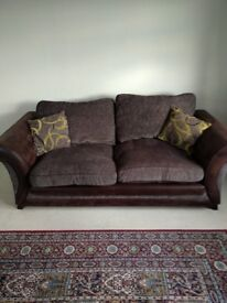 DFS 3 seater brown sofas with 2 cushions
