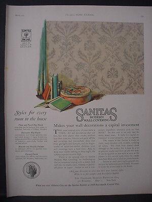 1925 Sanitas Modern Wall Covering Wall Paper Color Vintage Print Ad 11901
