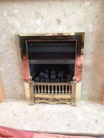 Brass gas fire with coals