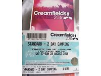 5 creamfields tickets - Saturday and Sunday camping