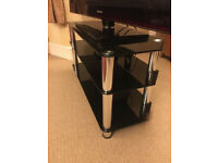 Large king Black Glass & Silver TV Stand