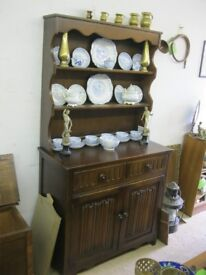 VINTAGE SOLID OAK 'OLD CHARM' WELSH DRESSER. TOP DETACHABLE. VIEWING/DELIVERY AVAILABLE