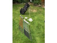Golf Clubs (full set right hand). Includes irons, woods, putter, bag (old) balls and tees