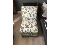 Ex display DFS escape nursing/accent chair in lime green butterfly pattern RRP £499