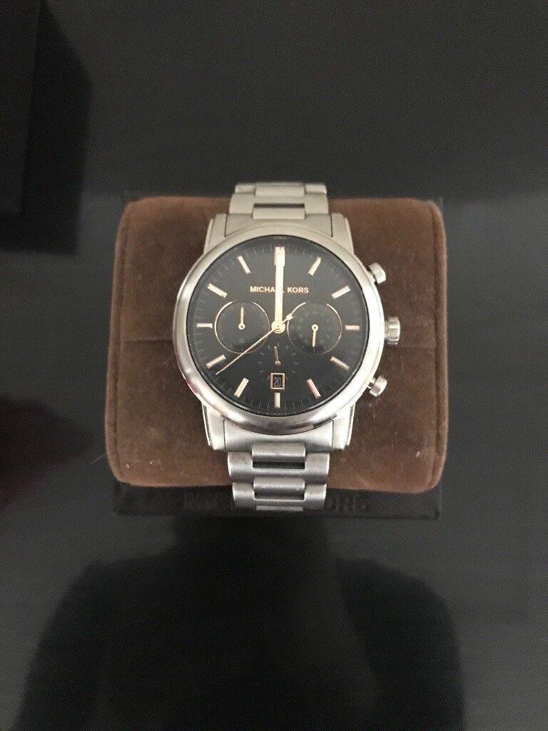 cff2ee610e9c0 MICHAEL KORS Pennant Chronograph Grey Dial Gunmetal Ion-plated Men s Watch