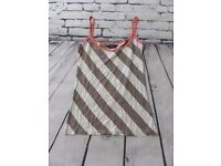 Womens Brown White Striped Summer Vest Tank Top Size 8 DOROTHY PERKINS | FREE Delivery