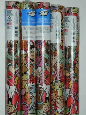Hanna Barbera Xmas Gift Wrap Wrapping Paper 100sq ft 5 Rolls Scooby Doo Jetsons