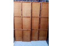 VINTAGE BAMBOO/CANE WOVEN DOORS x4