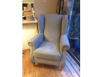 High back winged armchair for sale