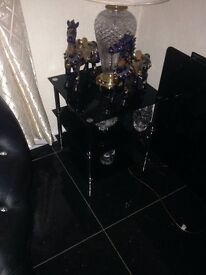 Black high gloss table and chairs with matching led light cabinet £300