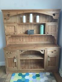 Stunning pine dresser with art noveau carved details