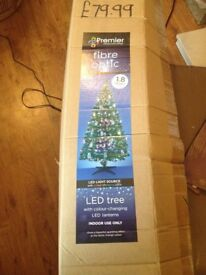 fibre obtic xmas tree with lanterns excellent condition 1.8 mtrs high