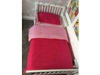 White wooden Junior bed with bedding can deliver for a charge