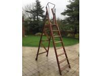 Vintage wooden step platform ladders A Bratt & son, original delivery ticket still in place