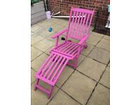 Pink teak garden longer chair sun lounger folding chair