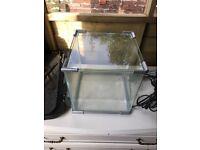 Small glass fish tank pump and light