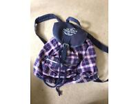 Jack wills pink and navy backpack
