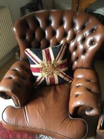 Vintage leather chesterfield wing back chair