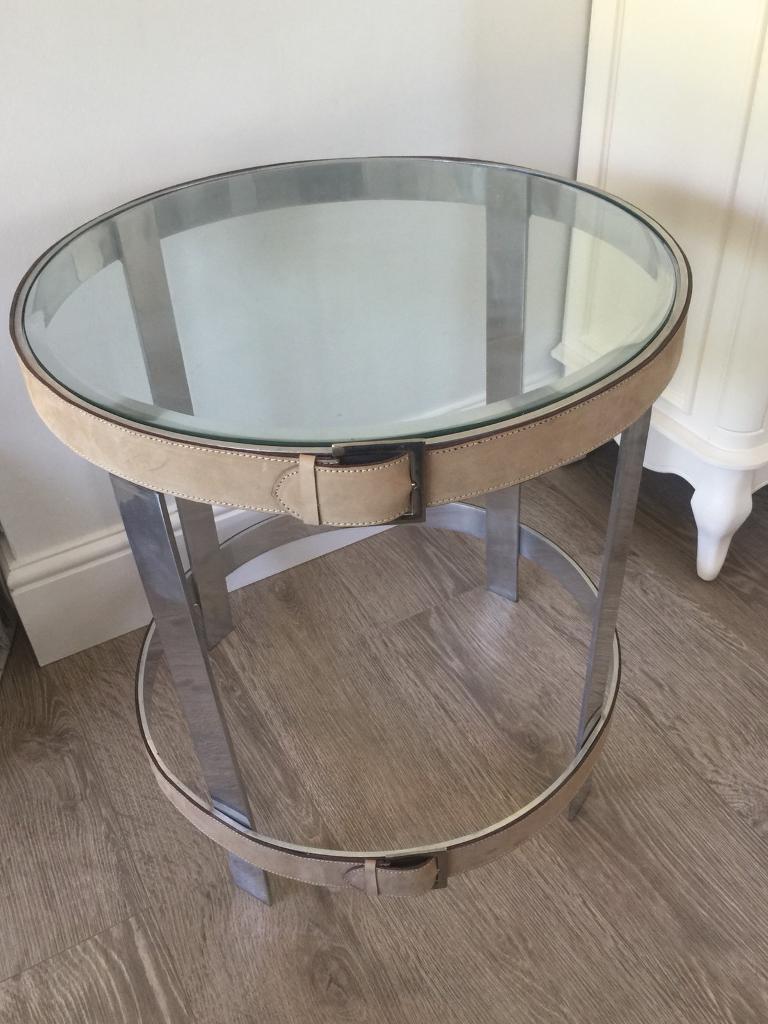 Glass and metal coffee side table