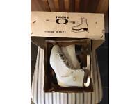 Girls ice skates white leather size 33