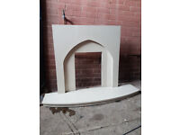 Marble hearth and back panel/ fireback for gas fire
