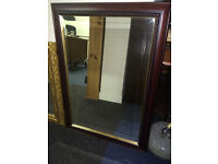 Lovely Large Antique Mirror with Bevelled Edges in an Ornate Mahogany Wooden Frame