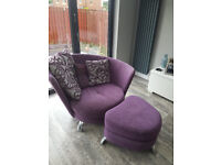 purple cuddler chair and footstool