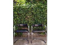 Vintage 80s Thonet style pair tubular chrome black leather cantilever armchairs