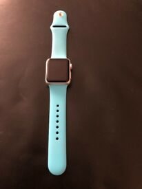 BLUE STRAPPED APPLE SPORTS WATCH SERIES 1 38MM GOOD CONDITION