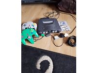 n64., nintendo 64 console & 2 pads, 2 games, bargain