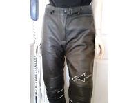 ALPINESTARS LEATHER MOTORCYCLE PANTS.