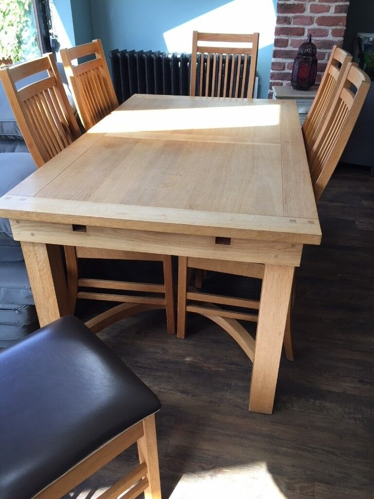 Barker Stonehouse Oiled Oak Dining Table 6 Chairs With Brown Leather Seats