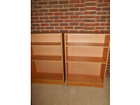 Two bookcases with adjustable shelves