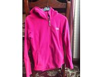 North face hooded pink top size small